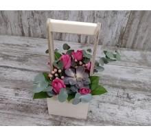 """Ящик с цветами """"Краткость в розовых тонах"""""""
