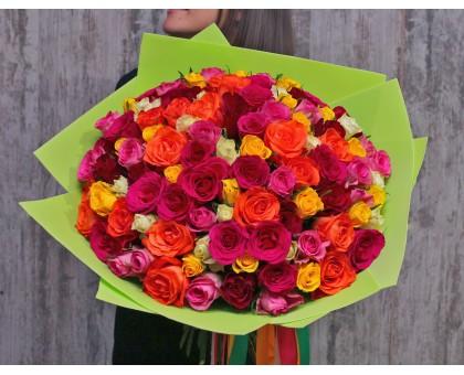 АКЦИЯ! 101 разноцветная роза