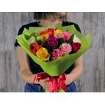 АКЦИЯ! 15 разноцветных роз в фетре