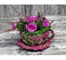 Корзина с цветами «Чаепитие»